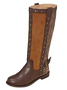 B.C. Best Connections - Bottes en cuir plates, à motif léopard et zèbre marron