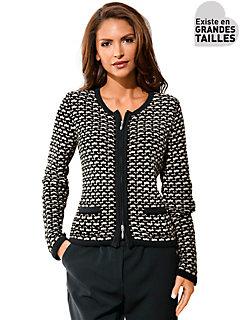 Patrizia Dini - Gilet court en tricot imprimé très élégant, zip double