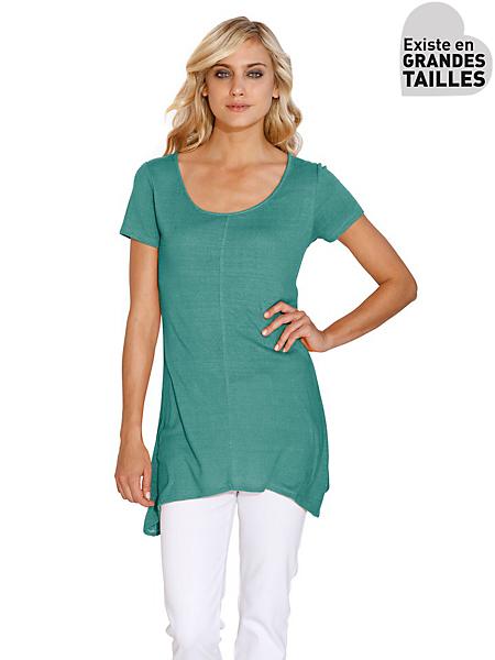 B.C. Best Connections - T-shirt long femme à manches courtes, base évasée