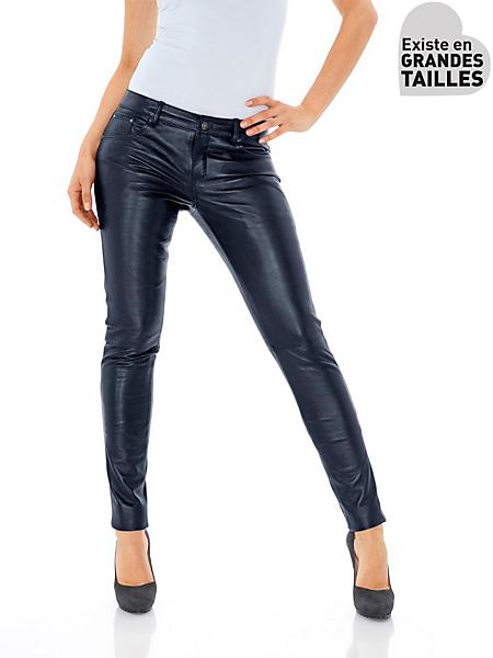 Patrizia Dini - Pantalon en cuir uni femme, coupe slim et taille basse