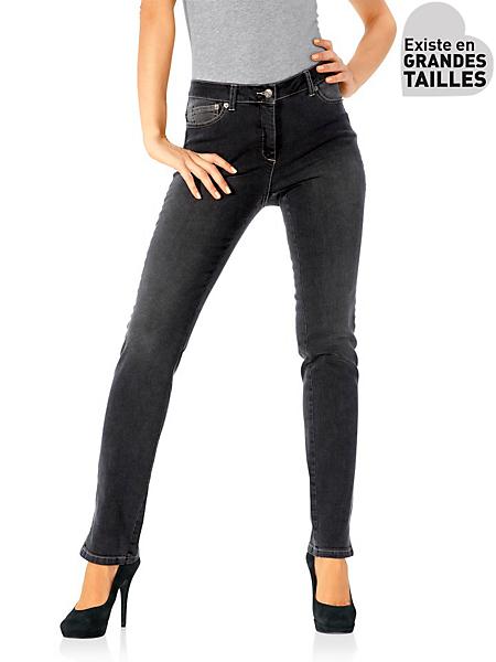 Ashley Brooke - Jean slim uni femme coupe amincissante à boutons