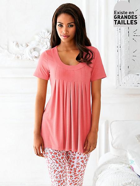 helline - T-shirt femme long plissé devant et coupe évasée
