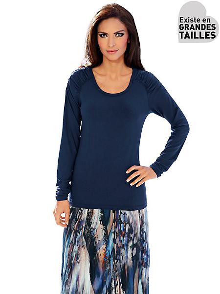 Ashley Brooke - T-shirt femme bleu marine cintré à détails froncés