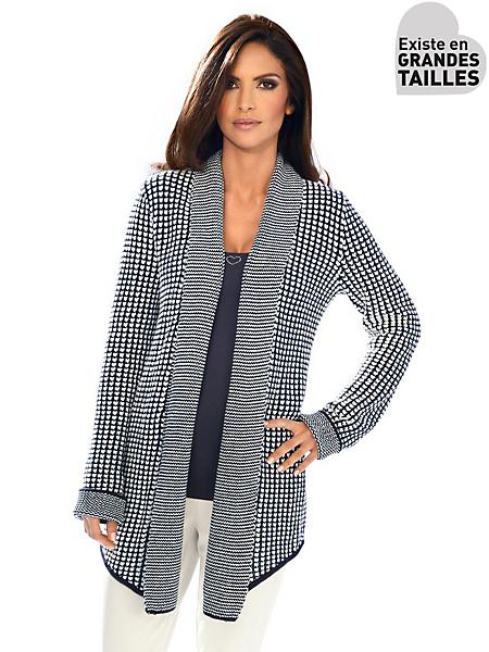 Ashley Brooke - Gilet long en tricot imprimé bleu foncé, col original