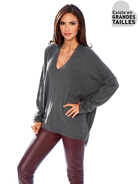 Ashley Brooke - Pull oversize à col en V, coupe très ample asymétrique