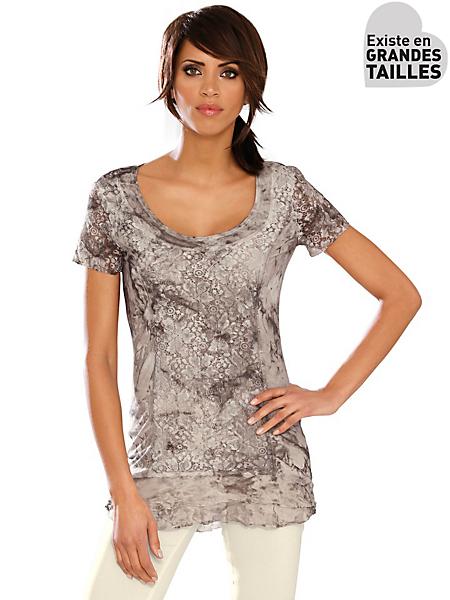 Linea Tesini - T-shirt femme original motif marbre, détails dentelle