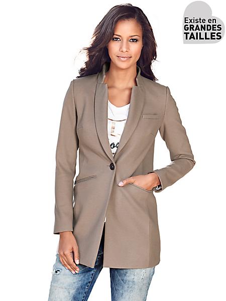 Patrizia Dini - Veste blazer longue cintrée à col tailleur et poches