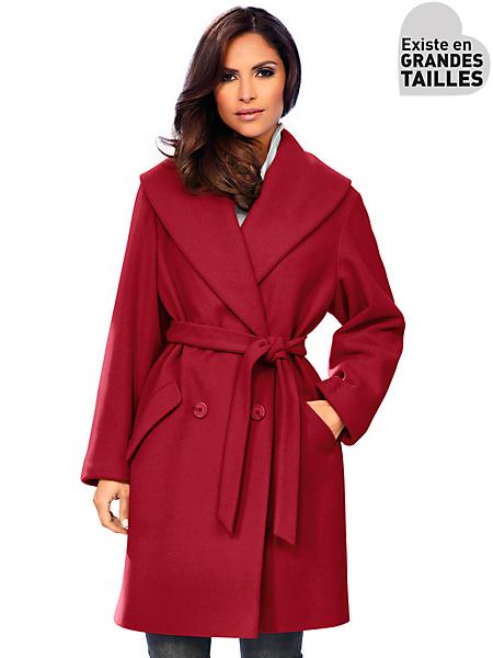 Ashley Brooke - Manteau oversize en laine à col châle, avec ceinture