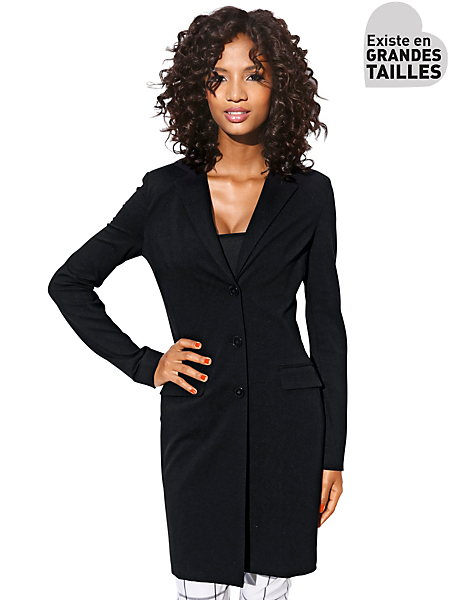 Ashley Brooke - Blazer long amincissant style redingote, à poches