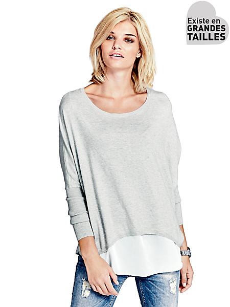 B.C. Best Connections - Pull ample en tricot et voile, dos ouvert original