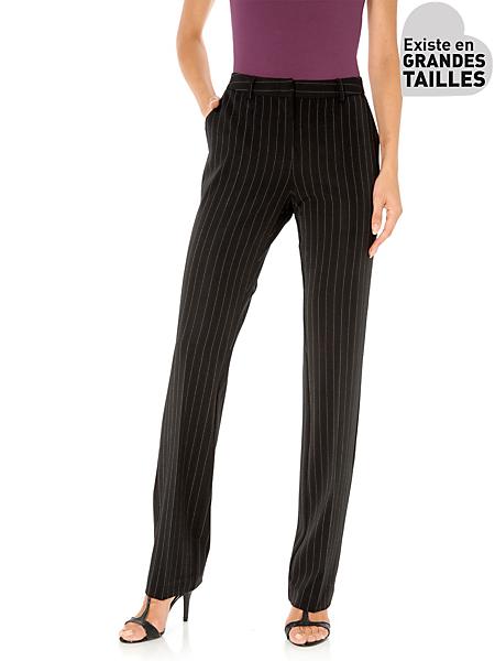 Patrizia Dini - Pantalon élégant femme, coupe ample à fines rayures
