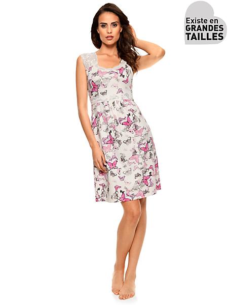 helline - Nuisette élégante à motifs papillons roses et dentelle
