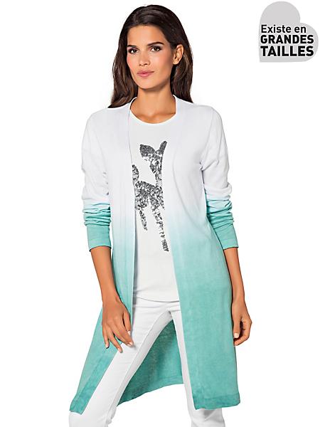 Ashley Brooke - Gilet long en tricot léger avec dégradé de couleurs
