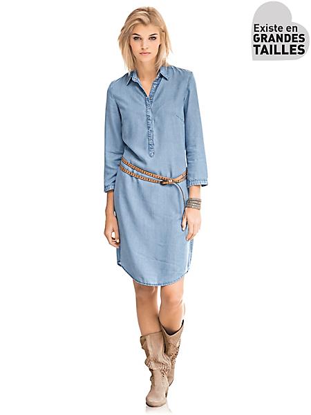 Mandarin - Robe ample en jean à col tunisien, coupe moderne