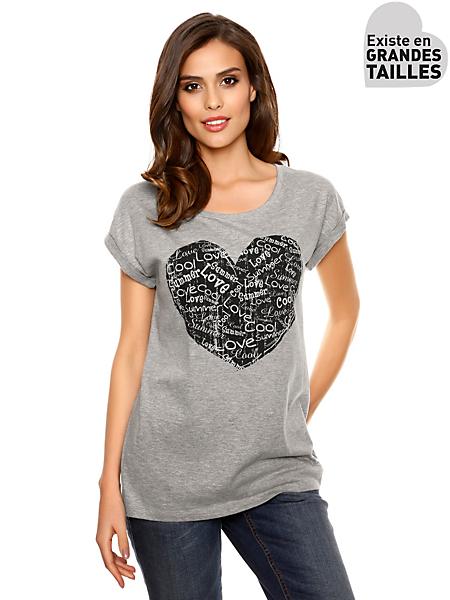 B.C. Best Connections - T-shirt basic femme, imprimé coeur avec messages