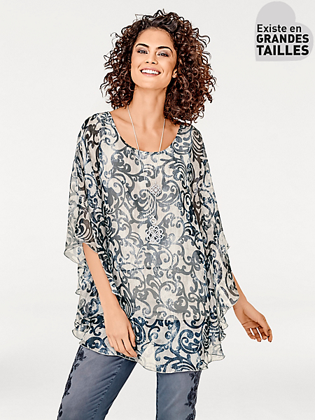 Linea Tesini - Tunique légère en voile à imprimé arabesques
