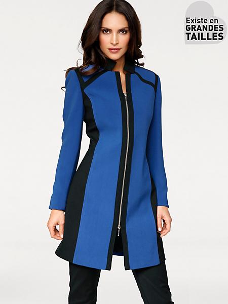 Ashley Brooke - Blazer long original bicolore à zip double sens