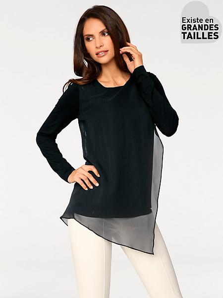 Ashley Brooke - T-shirt manches longues élégant à empiècement en voile