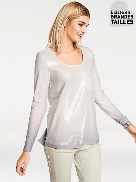 Rick Cardona - T-shirt à paillettes fluide aux couleurs dégradées
