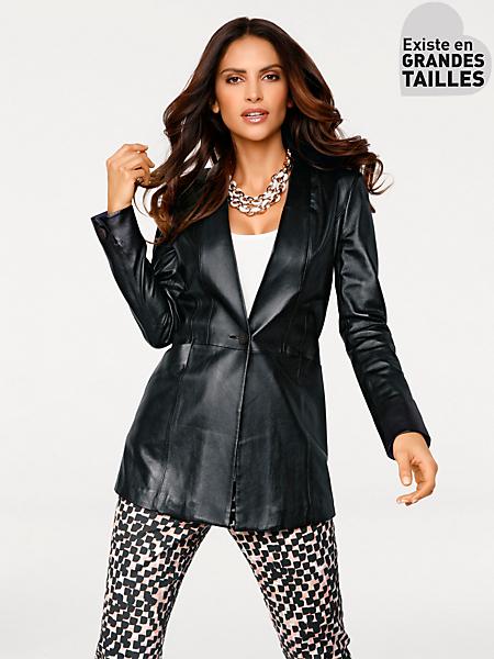 Ashley Brooke - Veste en cuir mi-longue cintrée élégante type blazer