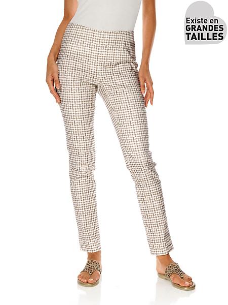 Ashley Brooke - Pantalon blanc femme à imprimé élégant de couleur taupe