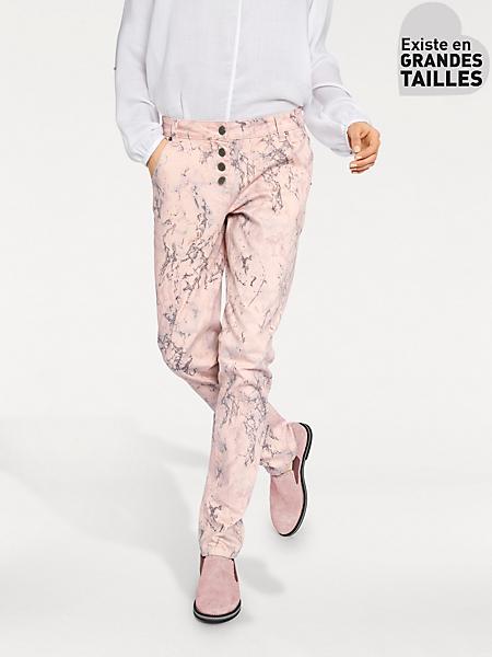 Rick Cardona - Pantalon droit imprimé marbre original, taille abaissée