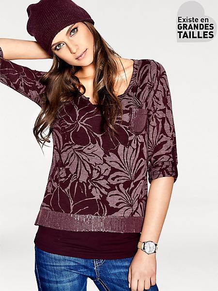 B.C. Best Connections - T-shirt original motif fleurs et paillettes, style 2en1