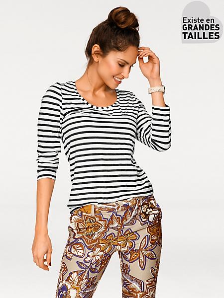 Rick Cardona - T-shirt tendance à rayures pour femme, style marinière