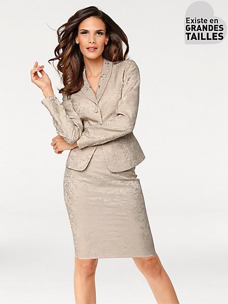 Ashley Brooke - Tailleur jupe chic en tissu brillant imprimé jacquard