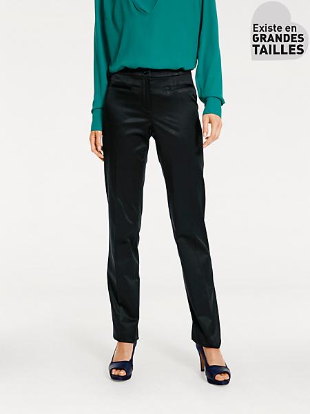 Ashley Brooke - Pantalon uni satiné femme, coupe droite classique