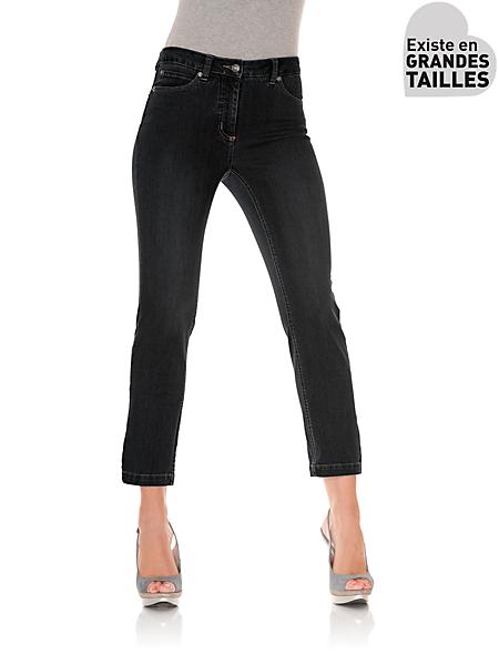 Ashley Brooke - Pantacourt uni en jean effet ventre plat, coupe slim