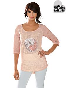 Linea Tesini - T-shirt ample original manches 3/4, motif à paillettes