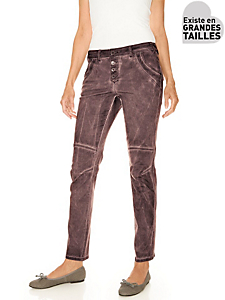 B.C. Best Connections - Pantalon boyfriend femme, coupe carrotte à boutons