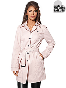Ashley Brooke - Trench-coat rose poudré, boutons et ceinture à nouer