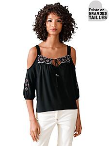 Linea Tesini - T-shirt femme original avec col carmen et broderies