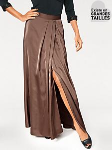 Ashley Brooke - Jupe fendue à plis en matière satinée, coupe longue