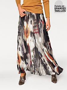 Ashley Brooke - Jupe longue en voile imprimé, motif graphique