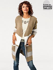 B.C. Best Connections - Gilet long en tricot chaud et imprimé rayé