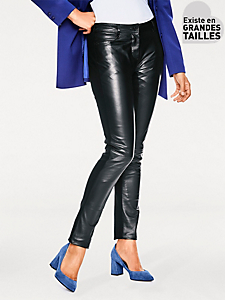 Ashley Brooke - Pantalon slim en cuir d'agneau, dos en stretch