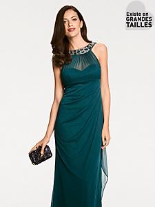 Ashley Brooke - Robe longue à encolure bijoux originale, coupe ajustée