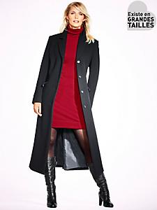 B.C. Best Connections - Manteau long uni forme caban à poches pour femme